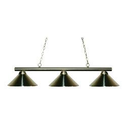 Joshua Marshal - Three Light Brushed Nickel Metal Brushed Nickel Shade Pool Table Light - Finish: Brushed Nickel