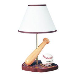 "Cal Lighting - Cal Lighting BO-374 60 Watt 15"" Kids / Youth Wood Baseball Table Lamp with On/Of - 60 Watt 15"" Kids / Youth Wood Baseball Table Lamp with On/Off Switch and Round Hardback Fabric Shade from the Kids CollectionSpecifications:"