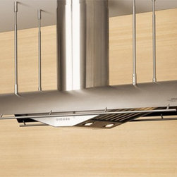 """Zephyr Trapeze 48"""" Island Hood - Stainless Steel - Large hood for installation over an island with stabilizing bars to keep the unit from moving excessively, which units without this feature do, believe us."""