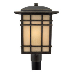 Quoizel - Quoizel HC9011IB Hillcrest 150W Traditional Outdoor Post Lantern Light - A design made for classic Arts and Crafts style homes, but looks great in contemporary or modern homes as well. The opaque linen glass softens the light, reducing glare and hot spots.