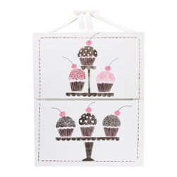 Cotton Tale Designs - Cupcake Wall Art 2-Piece - A quality baby bedding set is essential in making your nursery warm and inviting. All Cotton Tale patterns are made using the finest quality materials and are uniquely designed to create an elegant and sophisticated nursery. Cupcake Wall Art has 2 attached pieces, each measuring 12 x 20. The cupcakes are brightly on a two tier cake plate. The hand painted art has attached ribbons to hang or can be framed. A perfect finish for this delightful little girls nursery. Hand painted on 1/2 inch canvas covered foam board. Dust only. Made in the USA.