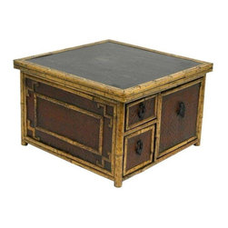 Used Bamboo Storage Box - Oh all the things we could store away in this neat bamboo storage box! Made from bamboo, wood and rattan. One cabinet and 2 drawers. Beautiful detailed bamboo work, patterned backing with lovely metal Asian pulls.