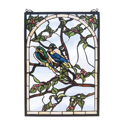 "Meyda Tiffany - 14""W X 20""H Lovebirds Stained Glass Window - A Meyda original A pair of Teal and Sapphire lovebirds nest on branches of Bark Brown with Pink blossoms and Jade leaves. Handcrafted utilizing the copper foil construction process and 398 pieces of stained art glass encased in a solid brass frame, each window is a unique creation to be forever treasured. Mounting bracket and jack chain included"