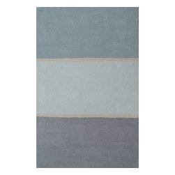 Jaipur Rugs - Jaipur Rugs Handmade Plush Pile Wool Blue/Gray Solid Area Rug, 3.5 x 5.5ft - This collections offers simple modern geometrics in all the fashion colors. Hand loomed in 100% wool each rug make a bold solid color statement to compliment contemporary interiors. The pattern and texture is created through a high/low loop and pile construction.