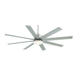 Minka Aire - Mink Aire Slipstream Ceiling Fan in Brushed Nickel Wet - Minka Aire Slipstream Model MF-F888-BNW in Brushed Nickel Wet with Silver All-Weather ABS Finished Blades.