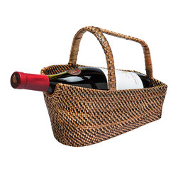 Kouboo - Wine Bottle Basket & Decanter in Rattan-Nito, Brown - A tisket a tasket — it's fun to tote around wine in this basket! Plus, it allows your reds to decant in the traditional way by letting the bottle rest on its side. It's also a great way to impress your guests at your next dinner party.