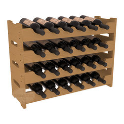 24 Bottle Mini Scalloped Wine Rack in Pine with Oak Stain - Stack four 6 bottle racks for proper storage of 24 wine bottles. This rack requires light hardware for assembly and is ready to use as soon as it arrives. Makes the perfect gift and stores wine on any flat surface.