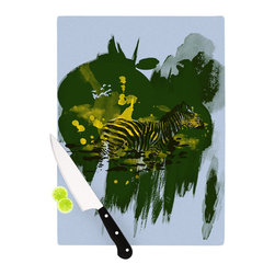 """Kess InHouse - Frederic Levy-Hadida """"Watercolored Green"""" Zebra Cutting Board (11"""" x 7.5"""") - These sturdy tempered glass cutting boards will make everything you chop look like a Dutch painting. Perfect the art of cooking with your KESS InHouse unique art cutting board. Go for patterns or painted, either way this non-skid, dishwasher safe cutting board is perfect for preparing any artistic dinner or serving. Cut, chop, serve or frame, all of these unique cutting boards are gorgeous."""