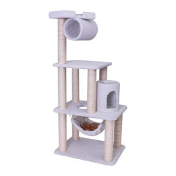 "Majestic Pet Products - 62"" Bungalow - Sherpa - Majestic Pet Products 62"" Casita Cat Tree is covered in honey colored Faux Fur with Sisal Rope wrapped posts, that will withstand the toughest claws. This kitty playground features multiple levels, a hammock for relaxing, cubby holes, a dangling rope, and a look-out perch to see what's going on with the family. Our"" Casita Cat Tree assembles in minutes with simple step by step instructions and tools provided."