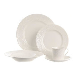 Home Decorators Collection - Riviera 5-Piece Place Setting - Our Riviera dinnerware is beautifully embossed with scrolling flower and vine motifs and beaded trim. This five-piece place setting includes a dinner plate, a salad plate, a tea cup, a saucer and a soup bowl. Bright white porcelain. Made in Malaysia.