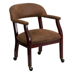 Flash Furniture - Bomber Jacket Brown Luxurious Conference Chair with Casters - This elegant reception/conference chair features upholstered arms, a contoured back, a solid hardwood mahogany frame, and individual brass nail head trimming. This chair will complement reception areas, libraries or your office as a guest chair.