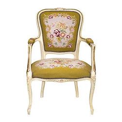 Consigned Armchair w/ Needlepoint Upholstery Louis XV Italy - French or Italian polychrome painted and partially gilded open armchair. Upholstered in a floral needlepoint.