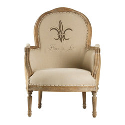Zentique - Lance Chair - Chair upholstered in natural linen with Fleur de Lis pattern/writing, framed with intricately carved limed grey oak, burlap back, and nailhead trimming. One pillow included. Imported.
