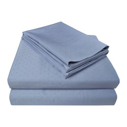 """400 Thread Count Swiss Dot Sheet Set - California King, Denim - This 100% Egyptian cotton Bedding Set is soft yet perfect for everyday use. This set features a homely and comforting Swiss dot pattern. Luxurious and comfortable at an affordable price. Set includes one flat sheet 104""""x108"""", one fitted sheet 72""""x84"""", and two pillowcases 21""""x41"""" each."""