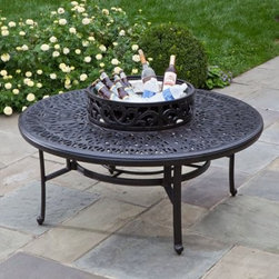 Kaleidoscope Cast Aluminum Wood Burning Fire Pit - The Kaleidoscope Cast Aluminum Wood Burning Fire Pit is just as visually impressive as the classic toy. The cast aluminum fire pit features an intricate design with an antique wine finish. The log-burning pit includes an iron fire bowl, a spark screen, a wood grate, and a beverage cooler bowl. Dimensions: 52 diam. x 21.25H inches.About Alfresco HomeOffering a wide selection of fashionable products, from casual furniture and garden lighting to permanent botanicals and seasonal decor, Alfresco Home casual living products offer a complete line of interior and exterior living furnishings and accents. Based out of King of Prussia, Penn., Alfresco Home continues to blend indoor and outdoor furniture to create a lifestyle of alfresco living inside and outside of the home. Inlaid mosaic tabletops, fine hardwood furnishings, artisan-inspired accents, premium silk botanicals, and all-weather wicker sets are just a few examples of the kind of treasures you'll find in Alfresco's specially designed collections.Please note this product does not ship to Pennsylvania.