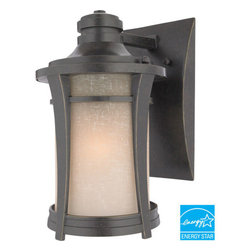 Quoizel Lighting - Quoizel HY8407IBFL Harmony 1 Light Outdoor Wall Light, Imperial Bronze - Long Description: This clean design has minimal ornamentation and and pure lines, giving it a peaceful, Zen-like appeal. The soft glow and texture of the linen glass add a special warmth to the exterior of your home. This fixture uses energy-efficient flourescent bulbs, which are included, and is Title 24 compliant.