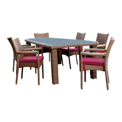 Wicker Paradise - South Beach Patio Outdoor Wicker Dining Set of 7 - There is nothing better than eating out and now you don't even need to leave the house to do so. This wicker dining set can seat up to seven people for your very own night out.