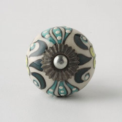 Elevated Zinnia Knob  - Really fun knob which might work well on a kitchen desk or in a smaller stand alone furniture piece in a kitchen or elsewhere in the house.