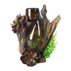 Bradbury HD - Organic Wood Branch With Glass Bowl - Custom - Natural Wood Branch with custom glass bowl