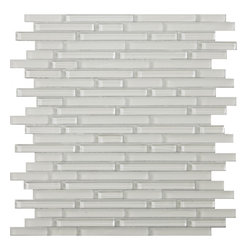 "unico linear glass mosaic collection: glorious white 13""x13"" -"