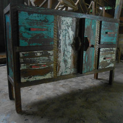 Boat Wood Furniture | Cabinet 4dr 2dr - Boat Wood Cabinet 2 drawer 2 doors