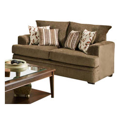 Chelsea Home Furniture - Chelsea Home Calexico Loveseat in Cornell Cocoa - Azure Platinum Pillows - Calexico loveseat in Cornell Cocoa - Azure Platinum Pillows belongs to the Chelsea Home Furniture collection