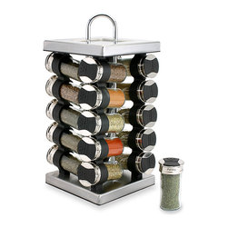 Olde Thompson - Olde Thompson 20-jar Square Stainless Steel Spice Set - Season your favorite dishes to perfection with this 20-jar spice rack by Olde Thompson. Featuring a stainless steel revolving Lazy Susan spice holder,this spice rack is a necessity for any kitchen.