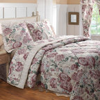 None - Emily 4-piece Full-size Comforter Set - Traditional floral print, reversing to a coordinating pin-stripe in warm colors on this the Emily comforter set will keep you comfortable with style. Lemon meringue-hues blend with earth tones and soft blossoms to create a peaceful mood.