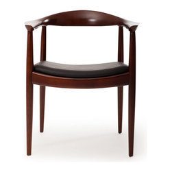 Kardiel - Kardiel Wegner Presidential Dining Chair, Black Italian Leather/Ash-Walnut Stain - The Kardiel reproduction of the Presidential chair is crafted entirely by hand. Using traditional joinery methods and being made of Solid Ash Hardwood, the chair construction is today as it was then.  The upholstery selected for the Kardiel reproduction is Genuine Italian leather. The back forms a circle shape extending toward the front of the chair creating the arms. The seat platform is also made of wood then wrapped with multi-density low profile Dacron covered foam. True to the original design, the front legs extend upward meeting as the support structure for the arms. This highly functional widely recognized chair is frequently used as an occasional seating chair, a dining chair and an office chair.