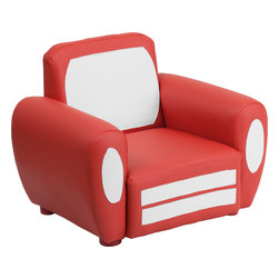 Flash Furniture - Flash Furniture Kids Car Chair - Kids will now get to enjoy furniture designed specifically for their size! This car themed chair will be a charming piece of furniture that your child is sure to love. This portable chair is great for seating in any room. The vinyl upholstery ensures easy cleaning after accidents or for quick wipe offs.