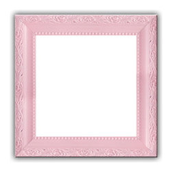 Baby Light Pastel Pink Solid Wood Photo, Picture Frame, Pink, 7x7 - Solid wood photo frame designed for hanging.