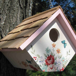 Home Bazaar, Inc. - Printed Wren Hanging Birdhouse Pastel Bouquet - This fully, functional house is designed to accommodate house wrens, one of the only species that tolerate a swinging nest box! Topped with western red cedar shingles and decorated with a pastel bouquet design, the house can be hung on its sturdy brass ch