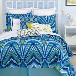 Blue Peacock Duvet Cover Set - Trina Turk has the most chic designs of all. I love the color and fashion-forward pattern in this one.