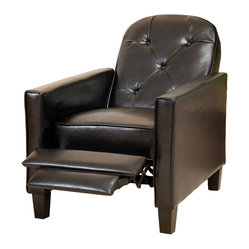 Great Deal Furniture - Miller Black Leather Recliner Chair - Relax in your very own recliner club chair upholstered with soft and cozy bonded leather. Enjoy the dual-function that features both a foot extension as well as a reclining back. Chair is great for small spaces creating a great place to take a nap or watch TV.