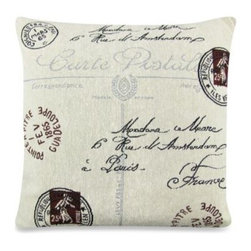 Park B. Smith - Park B. Smith Vintage House Postale 18-Inch Square Toss Pillow in Natural/Black - Add a delightful detail to any decor with the Park B. Smith Vintage House Postale Decorative Square Toss Pillow in Natural/Black. The square decorative pillow features vintage look with postal print and script embellishments.