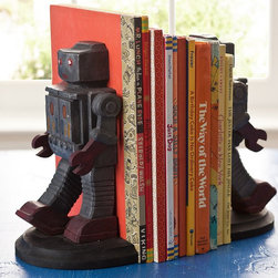 Robot Bookends | Pottery Barn Kids - These solid bookends will hold books securely in place while adding a quirky detail to your child's room. Modeled after midcentury toys, these little iron giants can stand on their own as great additions to a room.