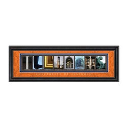 College Letter Framed Wall Art - University of Illinois - 24W x 8H in. - A lovely graduation gift, the College Letter Framed Wall Art - University of Illinois - 24W x 8H in. shows school pride in style. This professionally framed and matted piece features pictures of spots on campus that spell out Illinois. Its decorative matting is Illinois orange, it features a clear glass front, and the black vinyl-wrapped engineered wood frame enhances the quality. This framed print includes University of Illinois script, details of where each picture was taken, and comes ready to hang. Lets hear it for the Fighting Illini!