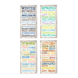 Linda McManus - Seasonal Sayings 4 pack - A FOUR PIECE SET SAVINGS! -  Buy the set a 20% discount...Winter, Spring, Summer and Autumn. All of your favorite thoughts and activities that happen during the seasons. A combination of different fonts and colors that match the feel of each season perfectly.