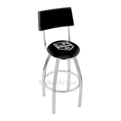 Holland Bar Stool - Holland Bar Stool L8C4 - Chrome Los Angeles Kings Swivel Bar Stool - L8C4 - Chrome Los Angeles Kings Swivel Bar Stool w/ Back belongs to NHL Collection by Holland Bar Stool Made for the ultimate sports fan, impress your buddies with this knockout from Holland Bar Stool. This contemporary L8C4 logo stool has a chrome single-ring base and a cushioned back to achieve maximum comfort and support. Holland Bar Stool uses a detailed screen print process that applies specially formulated epoxy-vinyl ink in numerous stages to produce a sharp, crisp, clear image of your team's emblem. You can't find a higher quality logo stool on the market. The plating grade steel used to build the frame is commercial quality, so it will withstand the abuse of the rowdiest of friends for years to come. The structure is triple chomed to ensure a rich, sleek, long lasting finish. Construction of this framework is built tough, utilizing solid mig welds. If you're going to finish your bar or game room, do it right- with a Holland Bar Stool. Barstool (1)