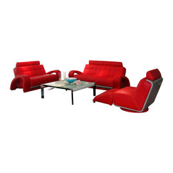 VIG Furniture - Bentley Red & Grey Bonded Leather Three Piece Sofa Set - The Bentley sofa set will add a modern touch to any decor while having you relax in comfort. This sofa set comes upholstered in a beautiful red bonded leather in the front with a grey backing that adds to the overall look. High density foam is placed within each piece for added comfort. Each piece features a unique design with modern curves and open arm design. The sofa set includes one sofa, loveseat, and chair only.