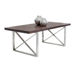 Balanced and Refined Look Dining Table with Bold Brushed Stainless Steel Legs - Balanced and Refined Look Dining Table with Bold Brushed Stainless Steel Legs