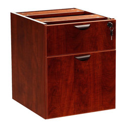 Boss - 2 Hanging Pedestal - 3/4 Box/File - Mahogany - The 3/4 pedestal features a file and box drawer. It can be used with any of the series desk shells Finished in Mahogany laminate
