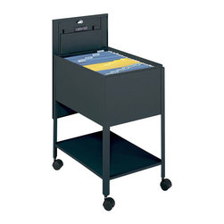 Safco - Safco Extra Deep 1 Drawer Legal Mobile Metal Tub File with Lock in Black - Safco - Filing Cabinets - 5363BL - Initiate filing innovation. Extra deep design helps those with extra work to store. Durable steel construction with locking lid (2 keys included) slides behind unit for access to files. Top viewing design allows easy filing and retrieval of stored documents. Holds letter size hanging file folders (not included). Economy Tub File includes a convenient lower storage shelf and four swivel casters (two lock) that make it so files roll easily to point of use.
