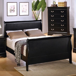 "Coaster - Louis Philippe Eastern King Bed - Compliment your bedroom with this traditional styled Louis Philippe bedroom collection. This set is available in a deep black finish.; Traditional Style; Louis Philippe Collection; Black finish; Some assembly required.; Dimensions: 93""L x 79""W x 47""-35""H"