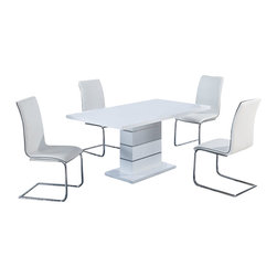 Global Furniture USA - D470DT + D490DC White Gloss & Vinyl Five Piece Dining Set - The D470DT + D490DC dining set will be all that you need to entertain your guest. This pedestal dining table comes in a beautiful white high gloss finish. The silver accents wrapped around the base will further enhance the beauty of this piece. The elegant design of these armless side chairs beautifully compliment the look of the dining table. The chairs comes upholstered in a stunning white vinyl material. These pieces not only boast a sophisticated, sleek look, but they are exceptionally comfortable as well. The dining set includes the dining table and four chairs only.