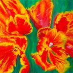 """""""Tulip Days"""" (Original) by Tracey Peer - Every year for just one weekend Amsterdam celebrates """"Tulip Day"""" where you are allowed to visit private gardens where this is one of the featured flowers.  Using broad brushstrokes and vibrant, bold colors I wanted to capture the essence of the Parrot Tulips."""