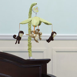Nurture - Nurture Swing Mobile Multicolor - 102210 - Shop for Mobiles from Hayneedle.com! Let your little monkey hang out with friends when you add the Nurture Swing Mobile to their crib. Plenty of plush monkeys hang by their tails beneath a canopy of leaves that's supported by a covered armature. Wind up the music box and enjoy the classic melody of Brahm s lullaby.About Nurture Imagination: Based in California Nurture Imagination creates collaborative relationships with artists designer and product innovators to bring a diverse mix of imaginative products to parents and children. This thoughtfully chosen array of products and features can be seen in their many nursery collections or just in the way they approach the needs of children and the parents who never get tired of caring for them.