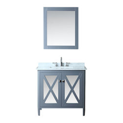 "Ariel - Summit 36"" Single-Sink Bathroom Vanity Set - This vanity from our Summit collection blends modern and traditional elements into one design.  From its tapered legs to mirrored door panels and whale grey finish, this vanity is sure to provide a dash of style to any bathroom."