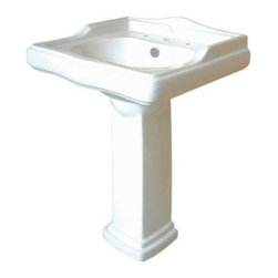 Kingston Brass - White China Wall Mount Pedestal Bathroom Sink with 8in. Center - The English Country wash basin attracts with its bold geometric contours--inspired from the traditional European styleG��_��_its body structure is elegantly designed and its interior surface sleek with a chrome-played overflow hole mounted on the front face. Made from fine vitreous china, the English Country pedestal sink leaves an impression in making your room classy and alluring.