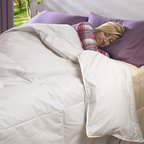 National Sleep Products - Remmy's Good Night Oversized Organic Cotton Down-Like Comforter - This hypoallergenic comforter features a fluffy and lightweight microgel fiber fill that mimics down in loft and warmth. It is finished in 300 thread count cotton fabric with oversized dimensions.